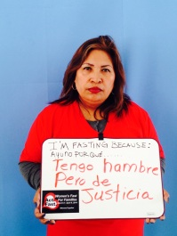 """Guillermina Castellanos, Colectiva de mujeres. """"I am fasting because I am hungry, but it is for JUSTICE."""""""