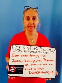 """Elvira Diaz, Reform Immigration/Reno, NV. """"Estoy ayunando porque tengo mucha hambre de justicia. La reforma migratoria se ha retrasado demasiado y las deportaciones tienen que PARAR."""""""