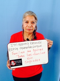 """Petra Falcón, Promise Arizona. """"I am fasting because all families are SACRED."""""""