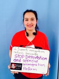 """Miriam Mijangos, Casa Freehold. """"Estoy ayunando para que PAREN las deportaciones y aprueben ya la reforma migratoria."""""""