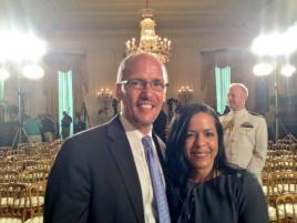 U.S. Secretary of Labor and fellow Dominican, Thomas Perez at the White House.