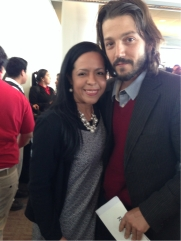 With Diego Luna during the launch of the Bridge Project's DREAMEr scholarship.