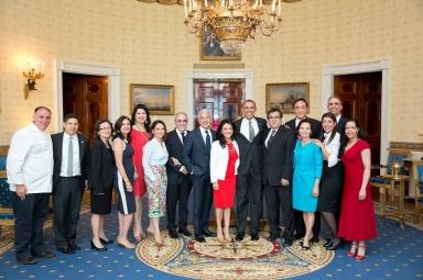 With President Barack Obama and Latino luminaries, at the 2014 White House Cinco de Mayo celebration.