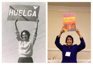 Photos: Left - The iconic Huelga image from the Delano Strike of 1965; Photographer unknown. Right: © 2013 Photo by Elianne Ramos.